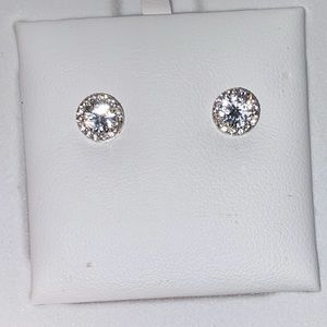 CZ diamond sterling silver earrings